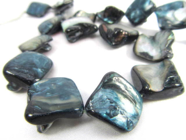 Dark Denim Blue Diagonally Drilled Mother of Pearl Nuggets-Jewelry Beads-Odyssey Cache