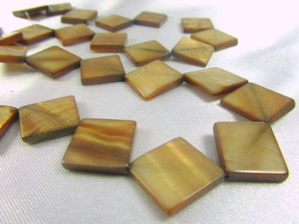 Golden Brown Mother of Pearl Flat Square 10mm Diagonal Beads-Jewelry Beads-Odyssey Cache