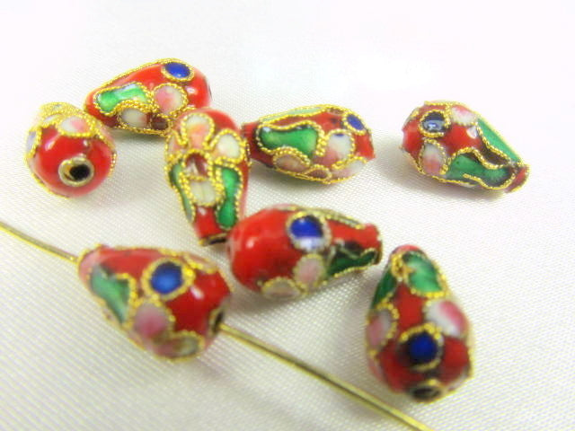 Red Cloisonne Flower 12mm x 6mm Teardrops (8) - Odyssey Cache