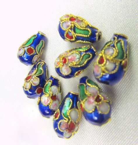 Blue Cloisonne Flower 12mm x 6mm Teardrops (8)-Jewelry Beads-Default Title-Odyssey Cache