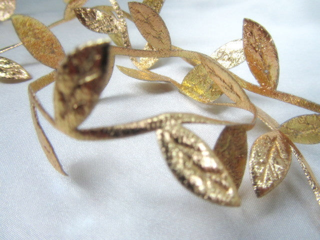 Gold or Silver Leaf 1 inch Metallic Trims By the Yard or the Roll - Odyssey Cache