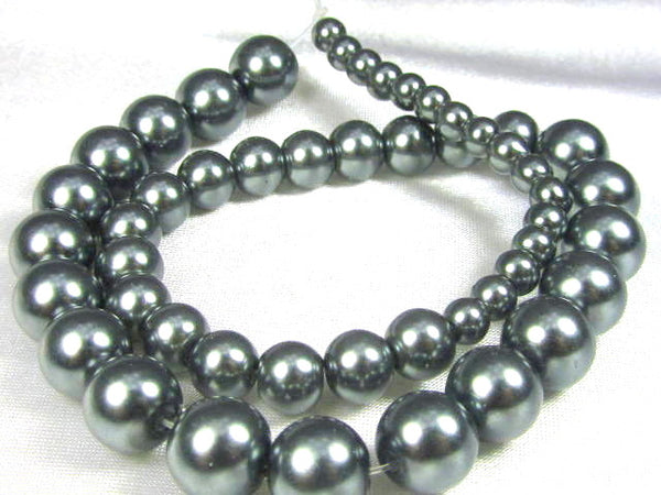 Gray Graduated Glass Pearls (50)-Jewelry Beads-Odyssey Cache