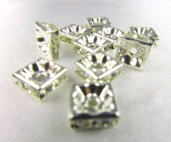 Silver Square 8mm Clear Crystal Squaredelle Spacers (8)-Jewelry Beads-Odyssey Cache