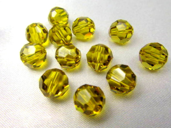 Lime Green Swarovski 8mm Round Beads (4)-Jewelry Beads-Odyssey Cache