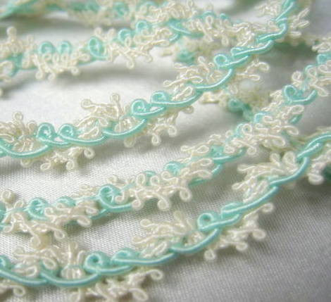 Easter Pastel Buttercream Lacy Picot Narrow Gimp Trim - Odyssey Cache - 5
