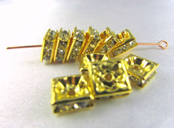 Gold Square 8mm Clear Crystal Squaredelle Spacers (8)-Jewelry Beads-Odyssey Cache