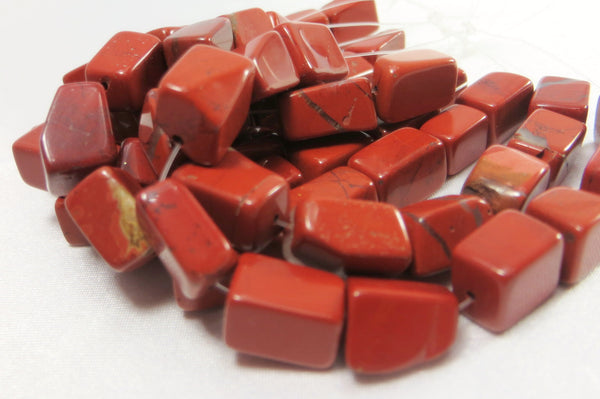 Red Jasper Stone 10mm x 8mm Rectangular Nuggets (10)-Jewelry Beads-Odyssey Cache