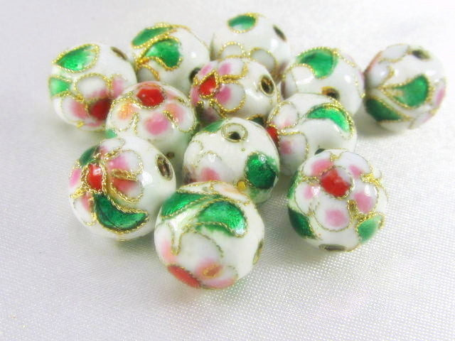 White Cloisonne 10mm Round Flower Beads (12)-Jewelry beads-Odyssey Cache