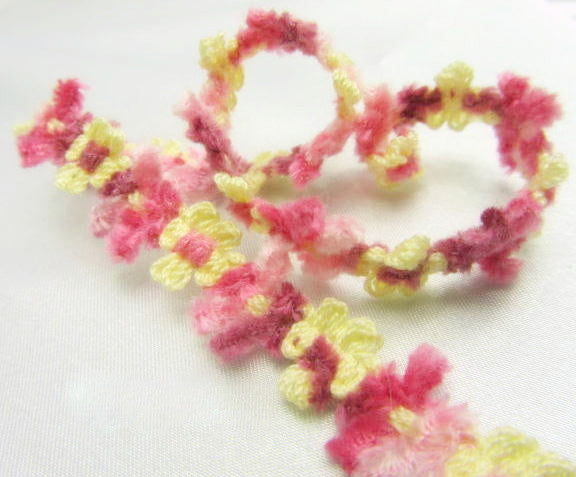 Soft 1/2 Inch Chenille Daisy Flower Trim in 5 spring, summer and autumn colors-Trims-Garden Rose Mauve Yellow-Odyssey Cache