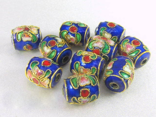 Blue Cloisonne 11mm Barrel Jewelry Beads (10)-Jewelry Beads-Odyssey Cache