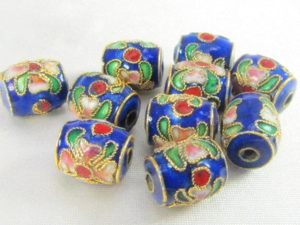 Blue Cloisonne 11mm Barrel Jewelry Beads (10) - Odyssey Cache