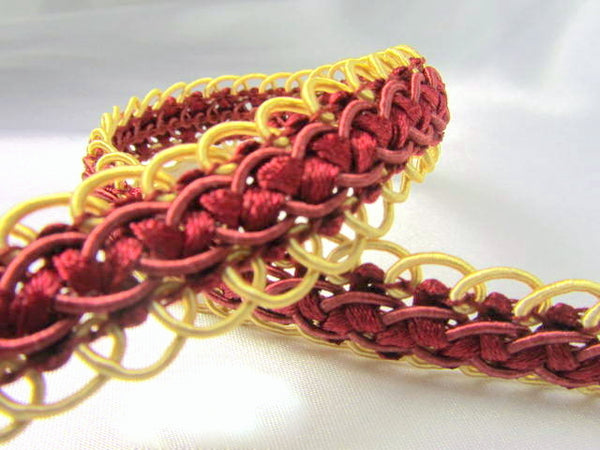 Double Scalloped Border Red and Gold Braided Gimp Decorator Trim - Odyssey Cache