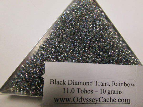 Transparent Rainbow Black Diamond size 8/0 Toho Glass Seed Beads (10 grams)-Jewelry Beads-Odyssey Cache