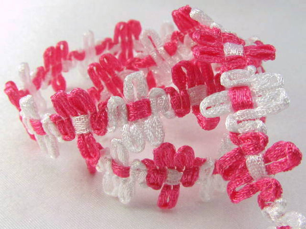 Hot Pink and White 12mm Daisy Flower Trim-Trims-Odyssey Cache