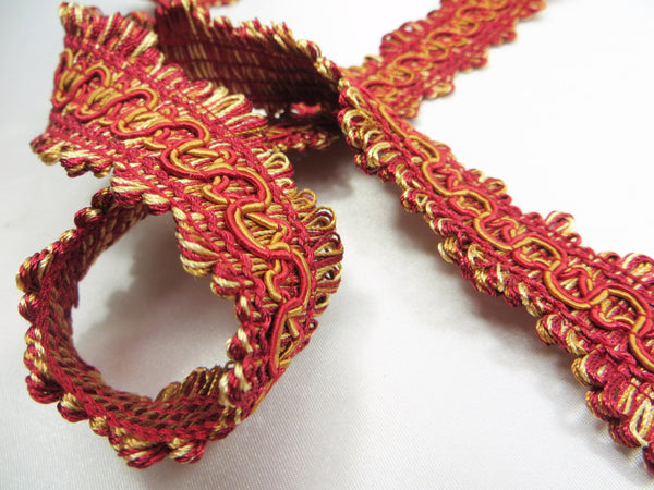 Wavy 1.25 Inch Decorator Gimp Trims in 3 colors-Trims-Red Gold-Odyssey Cache