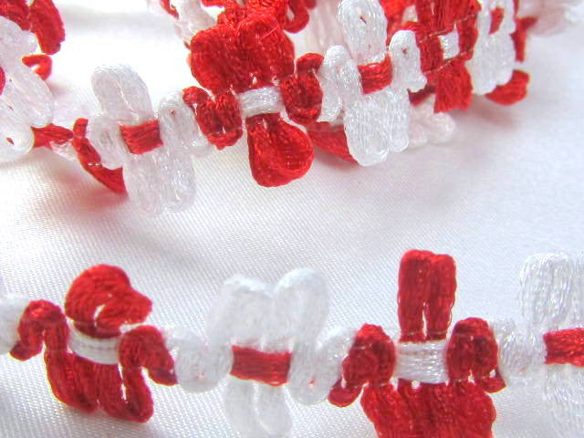 Red and White 12mm Daisy Flower Trim-Trims-Odyssey Cache