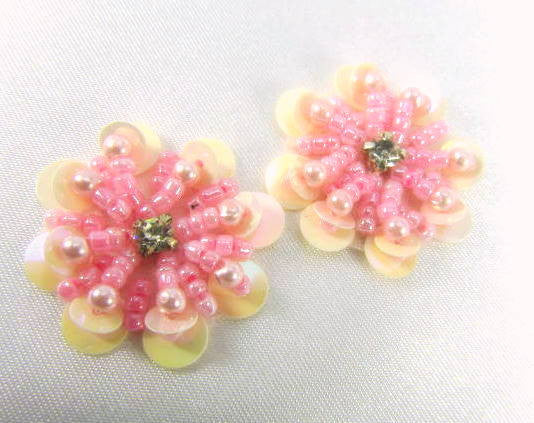 Pink Peach Sequined Beaded Flower Appliques (2) - Odyssey Cache