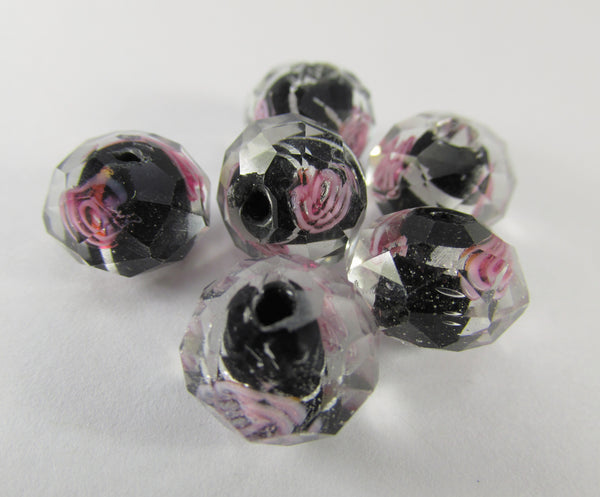 Black, Silver and Pink Rose 12mm Faceted Lampwork Glass Rondelles (6) - Odyssey Cache