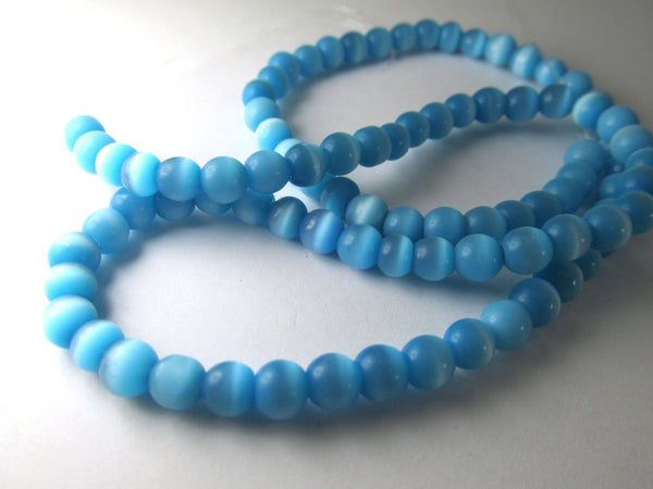 Cats Eye Blue Aquamarine Turquoise 6mm Round Glass Jewelry Beads - Full Strand - Odyssey Cache