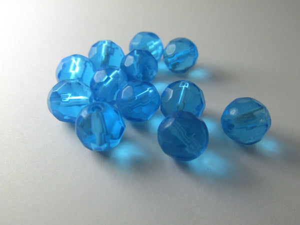 Aquamarine 8mm Faceted Round Glass Beads - full strand - Odyssey Cache