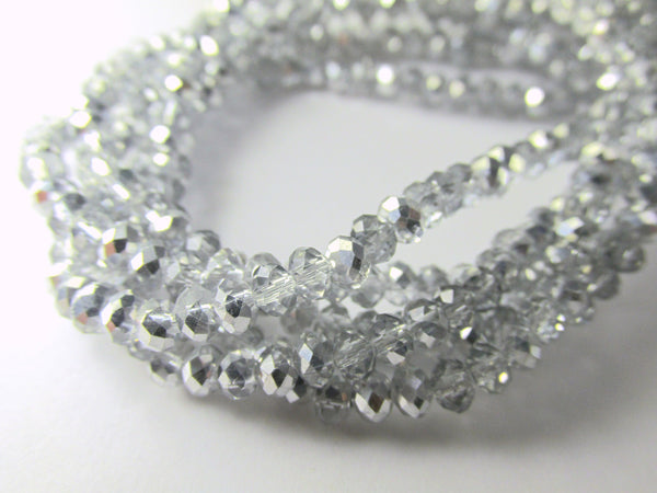 Silver and Clear Chinese Crystal 3mm x 2mm Rondelles-Jewelry Beads-Default Title-Odyssey Cache