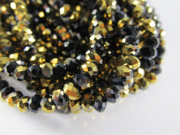 Black and Gold Chinese Crystal 4mm x 3mm Rondelles (100 beads)-Jewelry Beads-Odyssey Cache