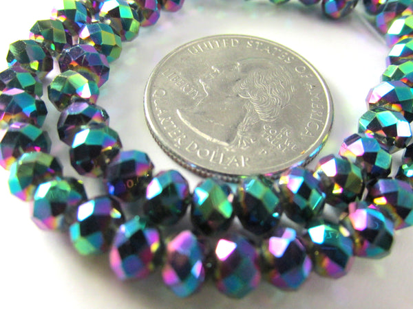Peacock Rainbow Chinese Crystal Rondelles 6mm x 4.5mm Jewelry Beads - Full Strand - Odyssey Cache