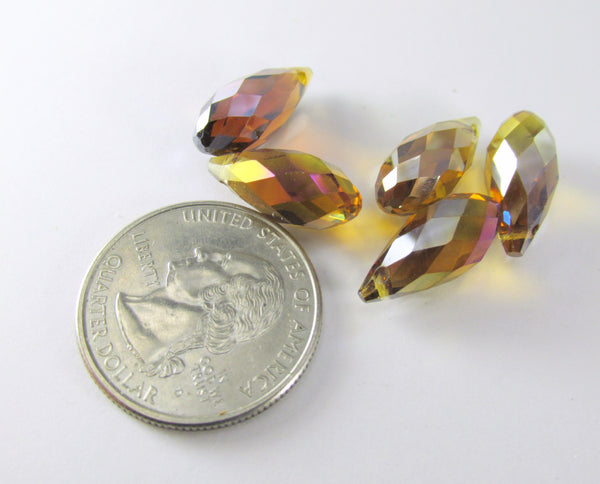 Golden Topaz AB 16mm x 8mm Crystal Briolettes (6)-Jewelry Beads-Odyssey Cache