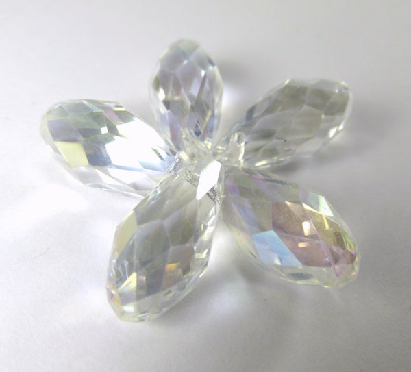 Crystal AB 16mm x 8mm Crystal Briolettes (6)-Jewelry Beads-Odyssey Cache