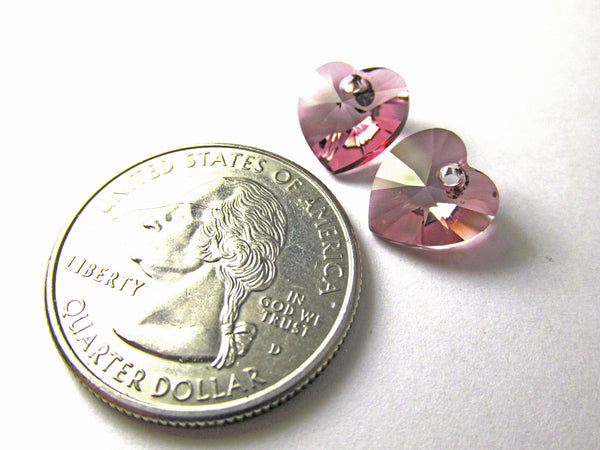Antique Pink Swarovski Crystal 10mm Hearts (2) - Odyssey Cache