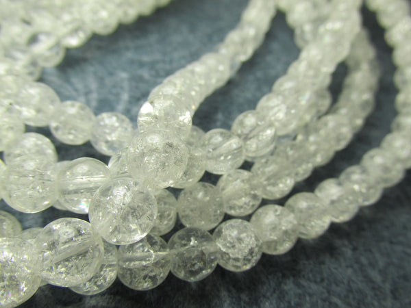 Clear Crackle Glass 6mm Round Jewelry Beads - Full 15.5 inch Strand-Jewelry Beads-Odyssey Cache