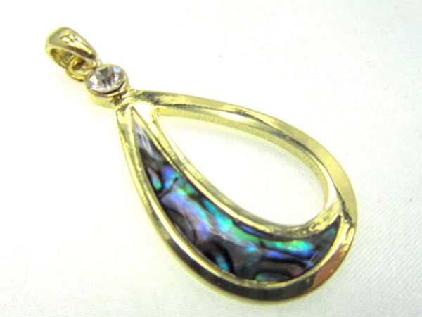 Gold Electroplate Teardrop Paua Shell Pendant-Jewelry Beads-Odyssey Cache