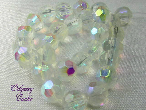 Crystal AB 8mm Faceted Round Glass Jewelry Beads (25)-Jewelry Beads-Odyssey Cache