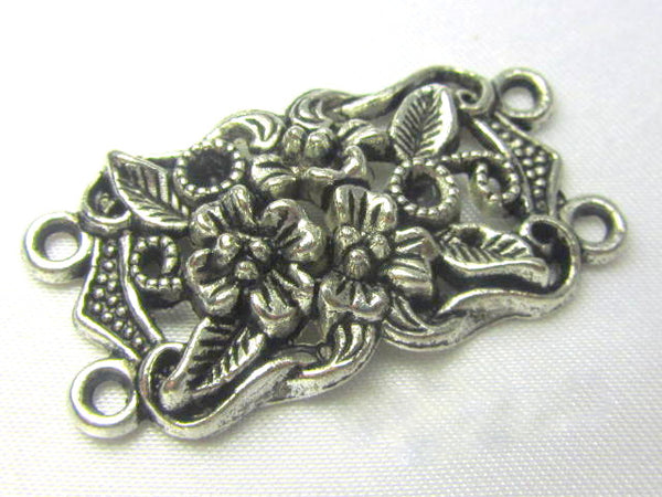 Antique Silver Pewter Double Strand Large Flower Connector Metal Findings (1)-Jewelry Beads-Default Title-Odyssey Cache
