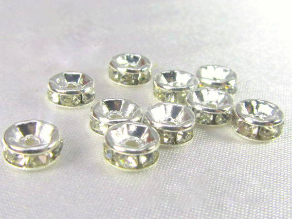 Silver Clear 7mm or 8mm Crystal Spacer Metal Beads (10)-Metal Beads and Findings-Odyssey Cache