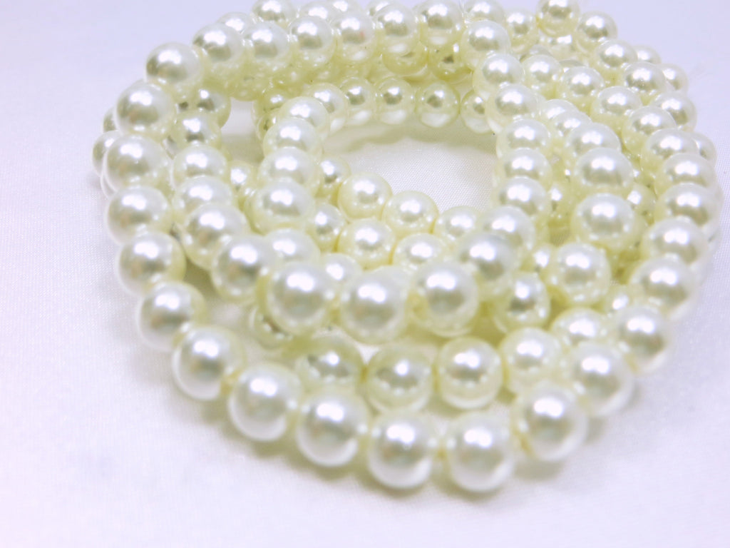 Oyster White 8mm Round Glass Pearls (46)-Jewelry Beads-Odyssey Cache