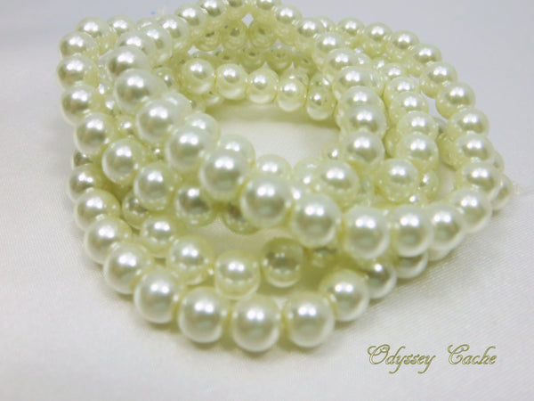 Ivory 8mm Round Glass Pearls (46) - Odyssey Cache