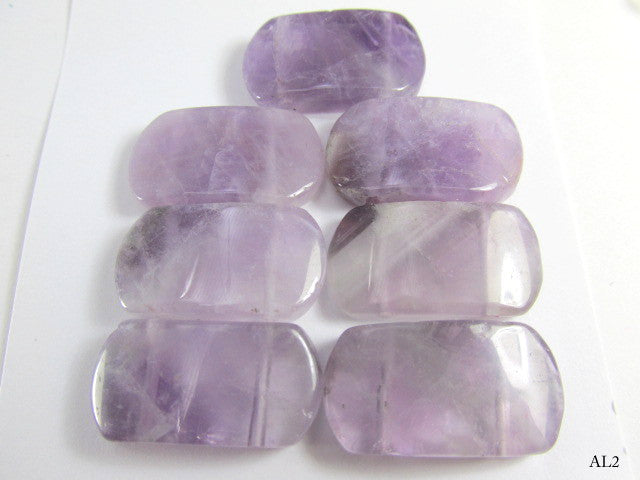 Amethyst Semiprecious Stone Two Hole Wedge Beads 7 Piece Set-Jewelry Beads-AL2-Odyssey Cache