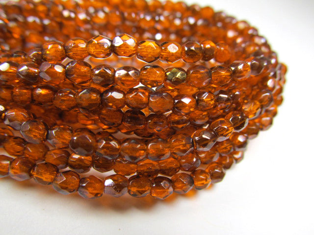 Orange Rust Brown Czech Glass 3mm Fire Polished Faceted Jewelry Beads (50)-Jewelry Beads-Odyssey Cache