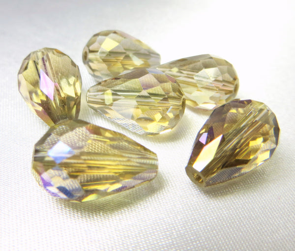 Champagne Gold AB 14mm x 10mm Faceted Crystal Teardrops (6)-Jewelry Beads-Odyssey Cache