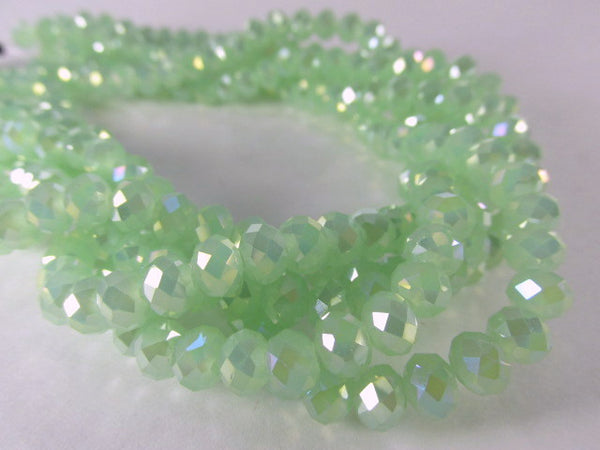 Mint Green 6mm x 4mm Faceted Crystal Rondelles - Odyssey Cache - 1