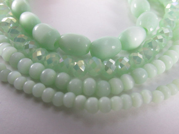Mint Green 5mm Round Cats Eye Glass Jewelry Beads-Jewelry Beads-Odyssey Cache