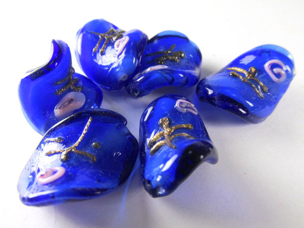 Bright Blue and Pink Rose Lampwork Glass 20mm x 15mm Twisted Beads (5)-Jewelry Beads-Odyssey Cache