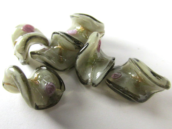 Gray and Pink Rose Lampwork Glass 20mm x 15mm Twisted Beads (5) - Odyssey Cache