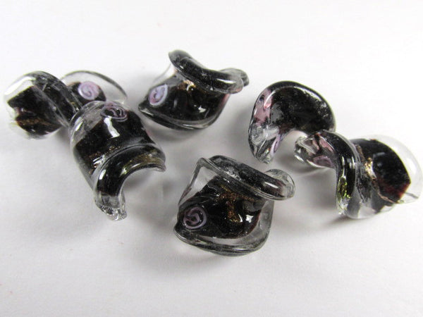 Black and Pink Rose Lampwork Glass 20mm x 15mm Twisted Beads (5) - Odyssey Cache