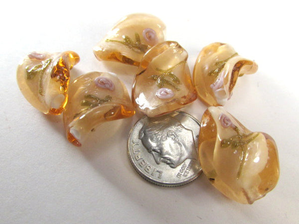 Bright Harvest Gold and Pink Rose Lampwork Glass 20mm x 15mm Twisted Beads (5)-Jewelry Beads-Odyssey Cache