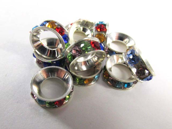 Multicolor 12mm x 5mm Rainbow Rondelle Crystal Spacer Silver Metal Jewelry Beads with 8mm Large Holes-Jewelry Beads-Odyssey Cache
