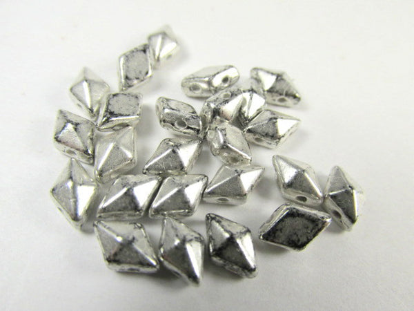 Antique Silver Czech 2 Hole DiamonDuo Beads (25) - Odyssey Cache