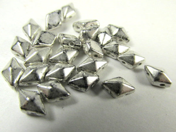Antique Silver Czech 2 Hole DiamonDuo Beads (25)-Jewelry Beads-Odyssey Cache