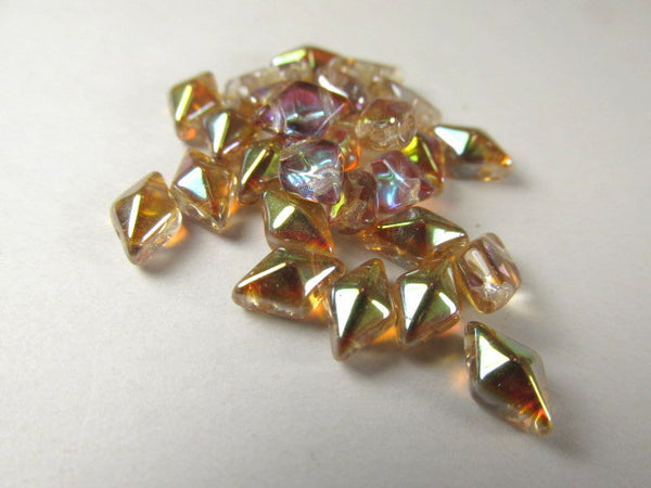 Old Bourbon Topaz AB Preciosa Czech 2 Hole DiamonDuo Beads (25) - Odyssey Cache - 1
